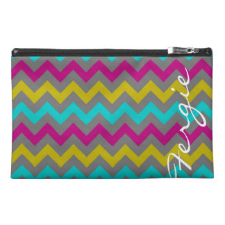 colorful zigzag pattern personalized by name travel accessory bag