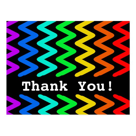 Colorful ZigZag Pattern - Thank You Postcard