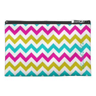 colorful zigzag personalized by name travel accessory bag