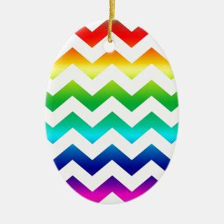Colorful ZigZag Rainbow on White Christmas Tree Ornaments