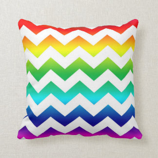 Colorful ZigZag Rainbow on White Throw Pillow
