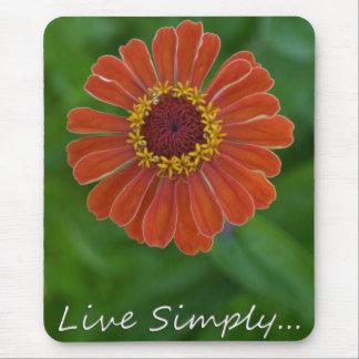 Colorful Zinnia flower mousepad unique gift idea