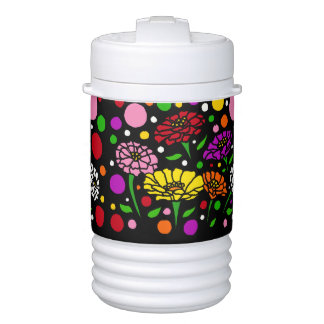 Colorful Zinnia Flowers Art Abstract Igloo Beverage Cooler