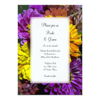 Colorful Zinnia Flowers Wedding Card