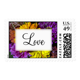 Colorful Zinnia Flowers Wedding Postage Stamp