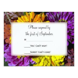 Colorful Zinnia Flowers Wedding RSVP Card