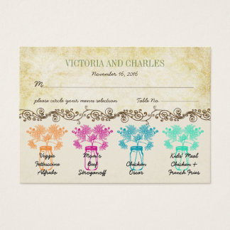 Colorful Zinnia Mason Jar Wild Flower Wedding Business Card