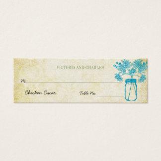 Colorful Zinnia Mason Jar Wild Flower Wedding Menu Mini Business Card