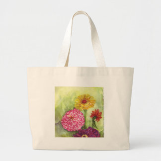 Colorful Zinnia Painting Tote Bag