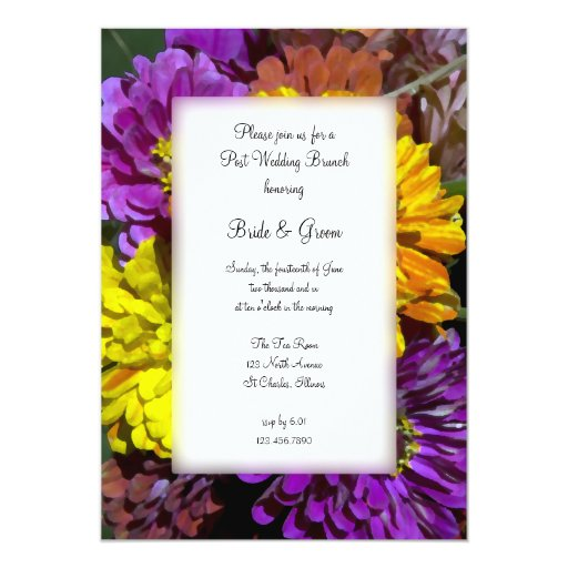 Colorful Zinnia Post Wedding Brunch Invitation