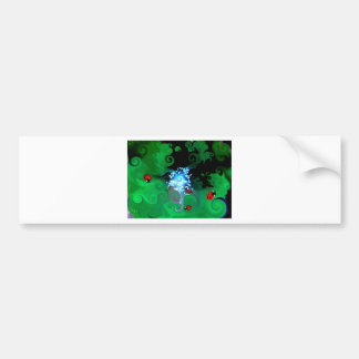 Colorfull abstract whimsicle art with lady bugs bumper sticker