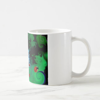 Colorfull abstract whimsicle art with lady bugs mugs