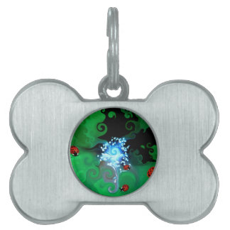 Colorfull abstract whimsicle art with lady bugs pet tags