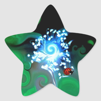 Colorfull abstract whimsicle art with lady bugs star sticker