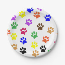 Colorfull animal paws in the white background paper plate