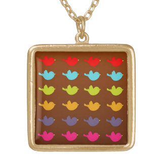 Colorfull Birdsq Gold Plated Necklace