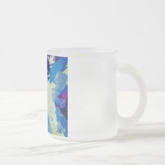 colorfull blue painting pattern 10 oz frosted glass coffee mug