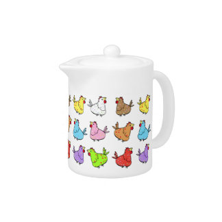 Colorfull Chickens Teapot