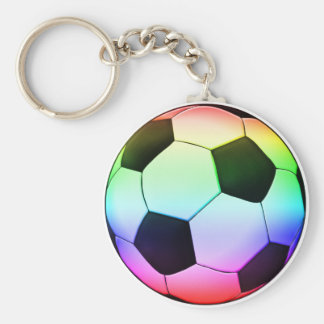 Colorfull Soccer Ball (football) Basic Round Button Keychain