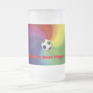 Colorfull Soccer Ball (football) Frosted Glass Beer Mug
