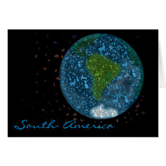 Colorfull South America Continent Card