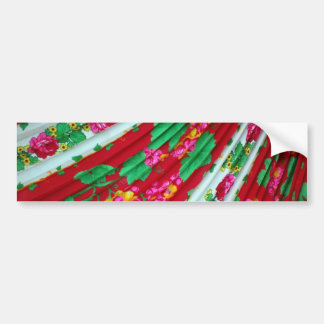 Colorfull-textile-with-fringes614 RED WHITE GREENS Bumper Sticker