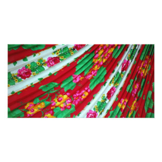 Colorfull-textile-with-fringes614 RED WHITE GREENS Personalized Photo Card