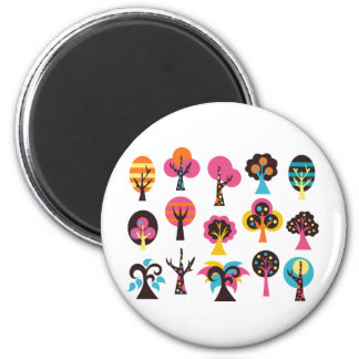 ColorfulTrees1 2 Inch Round Magnet