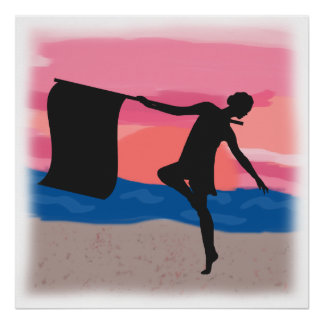 Colorguard Dancer at Sunset Posters