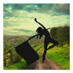 Colorguard Dancer Leaping with Flag Poster