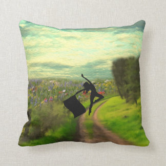 Colorguard Dancer Leaping with Flag Throw Pillow