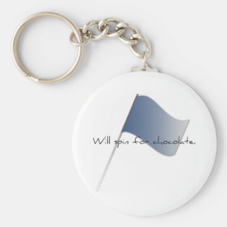 "Colorguard ""Will spin for chocolate."" Basic Round Button Keychain"