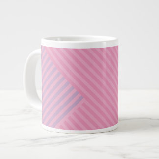 Colori Pastello Rose and Lavender Chevron Striped Giant Coffee Mug