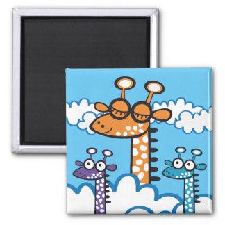 Colorida Jirafa. Giraffe. 2 Inch Square Magnet