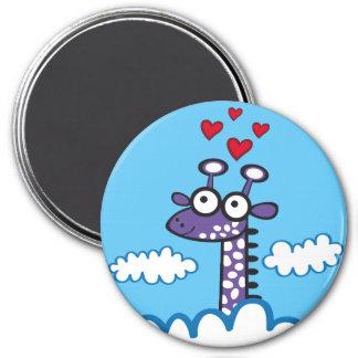 Colorida Jirafa. Giraffe. 3 Inch Round Magnet