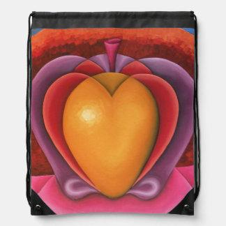Coloridas Frutas, manzana, mango, corazón Drawstring Bag