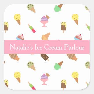 Colorido, elegante, negocio de la sala de helado pegatina cuadrada