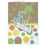 Colorido gracias tarjeta de la jirafa