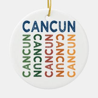 Colorido lindo de Cancun Adorno Navideño Redondo De Cerámica