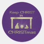 Colorido mantenga a Cristo pegatinas del navidad