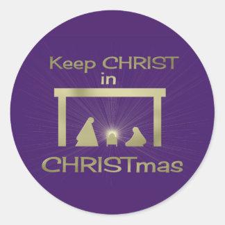Colorido mantenga a Cristo pegatinas del navidad Pegatina Redonda