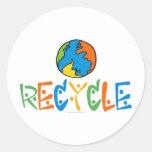 Colorido recicle etiquetas redondas