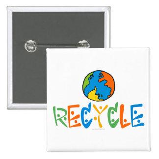 Colorido recicle pin cuadrada 5 cm