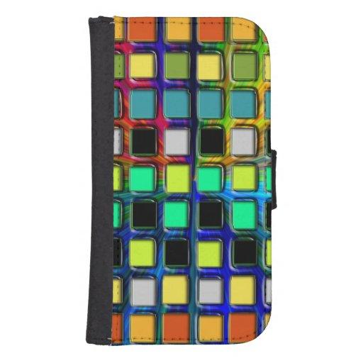 Colorido Rejilla-Tejado Funda Cartera Para Teléfono