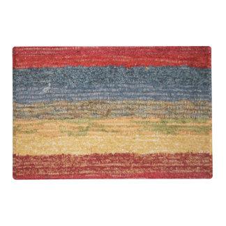 Colorido, rojo, azul, amarillee las rayas tejidas salvamanteles