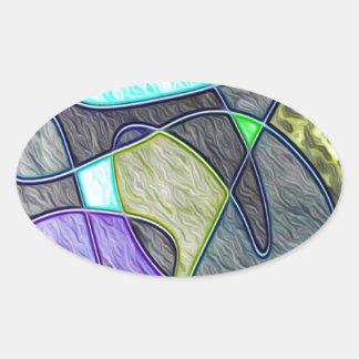 colorido tragada pegatina de oval