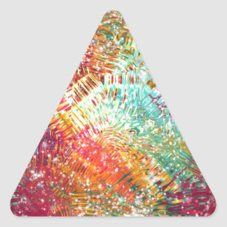 Colorido y reluciente vidrioso-como diseño de la pegatina triangular