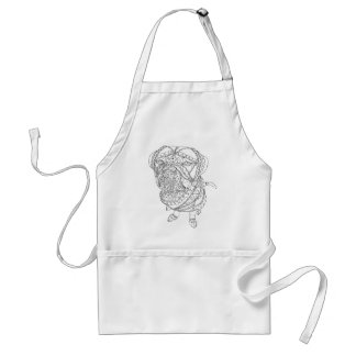 Coloring Book Dog Sitting Colorable Drawing Adult Apron