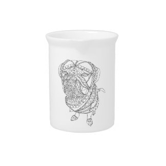 Coloring Book Dog Sitting Colorable Drawing Beverage Pitcher