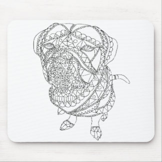 Coloring Book Dog Sitting Colorable Drawing Mouse Pad